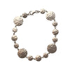 Hammered Texture Round Metal Crystals Bracelet, 7 Inches