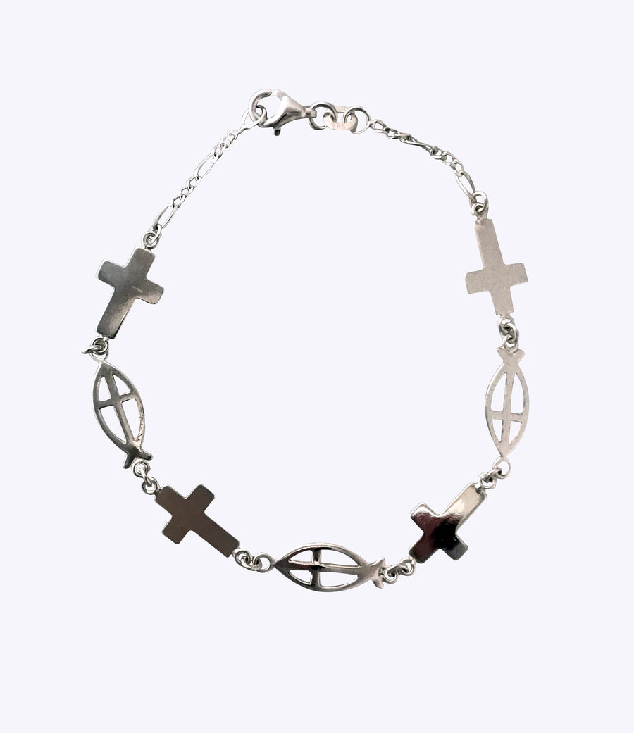 7.5 Inch Christian Fish and Cross Sterling Silver Bracelet