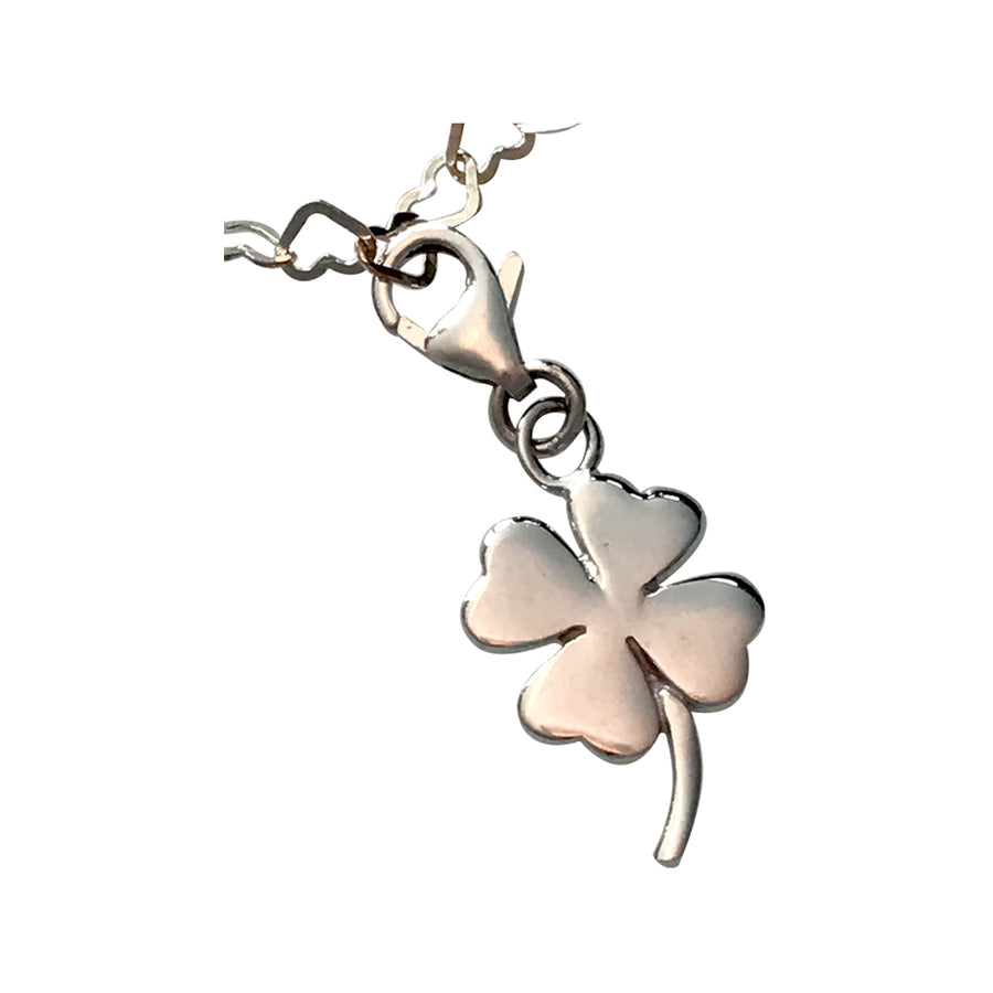 Sterling Silver Heart and Clover Bracelet, 7.5 Inches