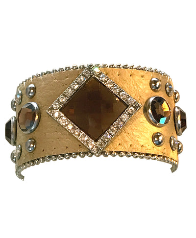 Adjustable Leather Cuff Western Bracelet With Crystals