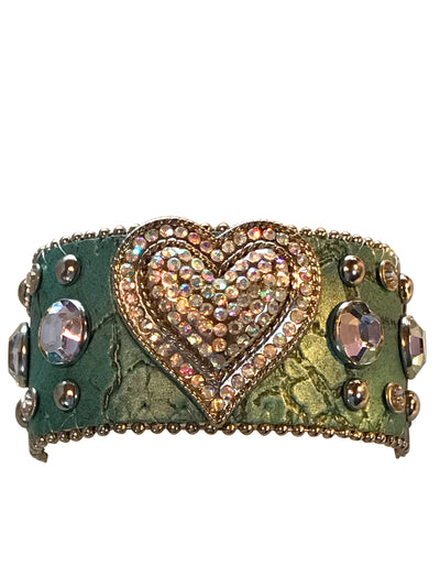 Adjustable Western Bracelet with Crystal Heart and Studs