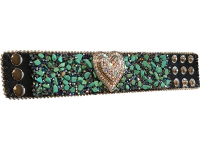 Adjustable Western Bracelet with Crystal Heart Concho and Stones