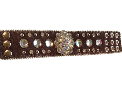Adjustable Hair on Cowhide Western Bracelet with Crystal Concho