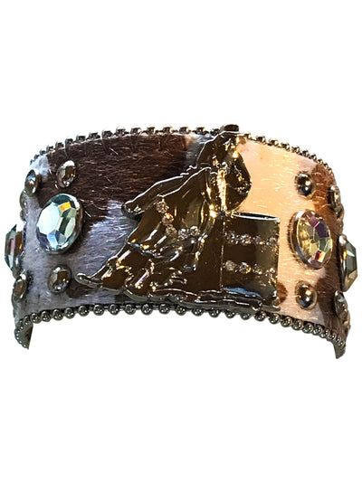 Adjustable Hair on Cowhide Western Barrel Racer Bracelet