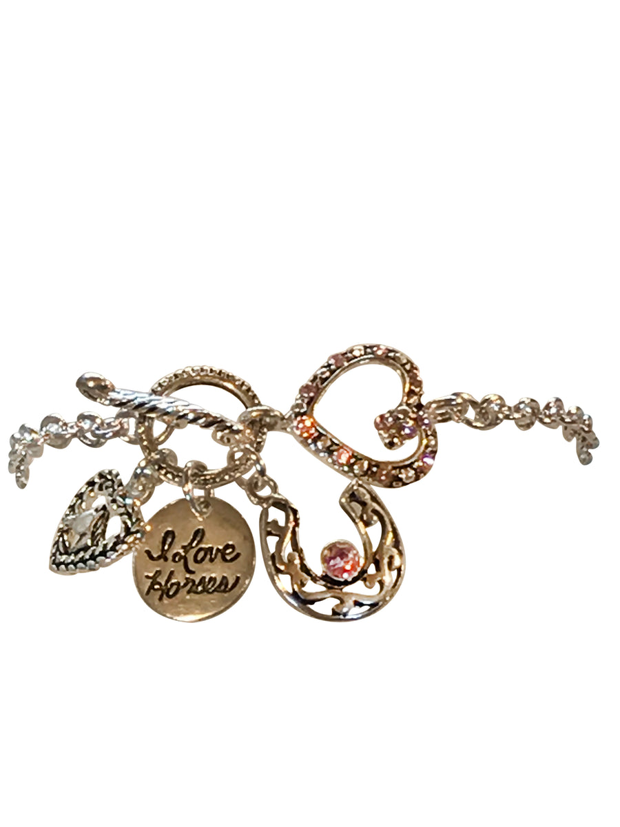Crystal Three Charm Toggle Bracelet, 8 Inches