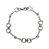 Small Link Snaffle Bit With AB Crystals Bracelet, 7 Inches