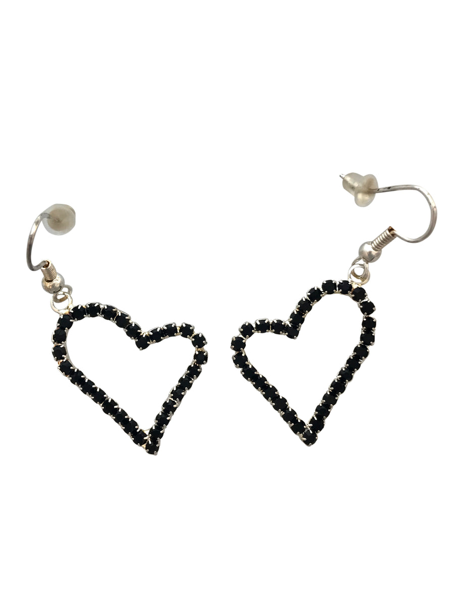 24x22mm Rhinestone Heart Earrings