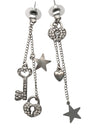 70x12mm Lock and Key Rhinestone Dangle Earrings