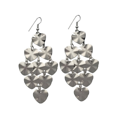 3 Inch Silver Toned Dangle Heart Earrings