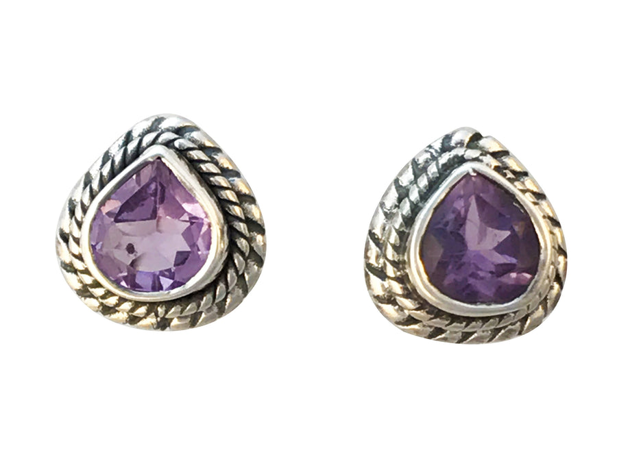 8mm Natural Amethyst and Antiqued Sterling Silver Post Earrings
