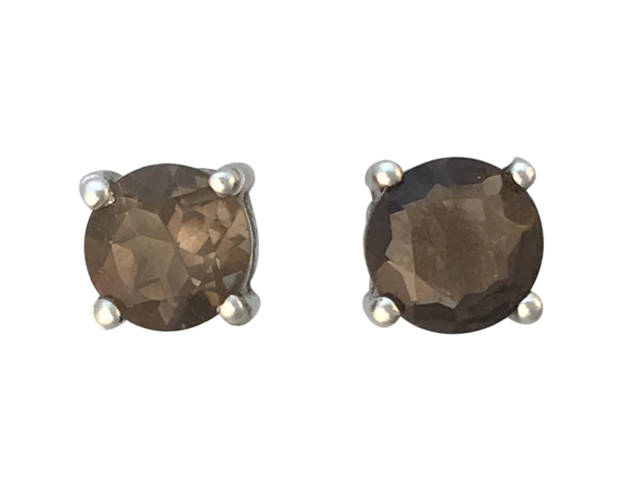 6mm Sterling Silver and Smoky Quartz Post Earrings