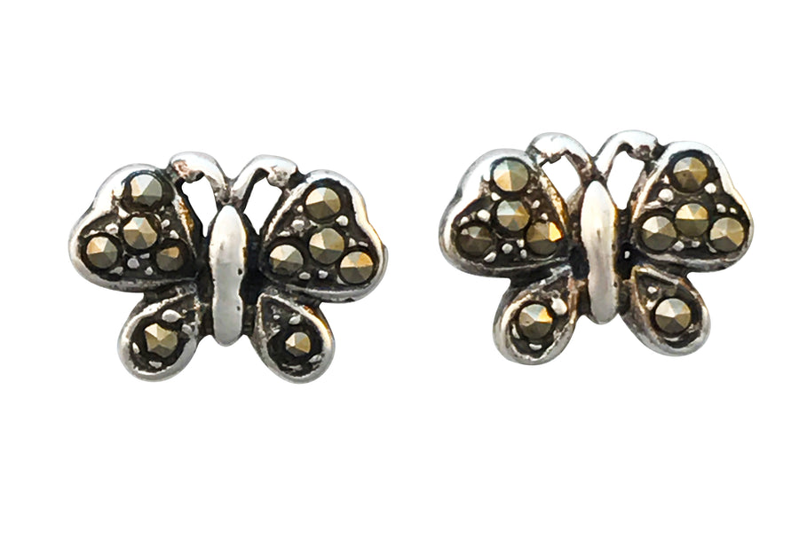 8x10mm Antiqued Sterling Silver and Natural Marcasite Post Earrings