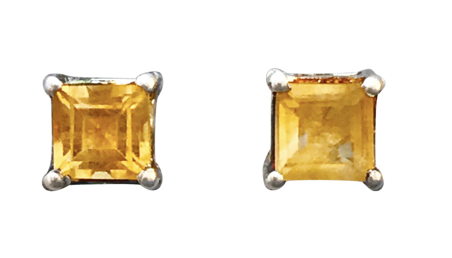 4mm Heated Citrine and Sterling Silver Post Earrings
