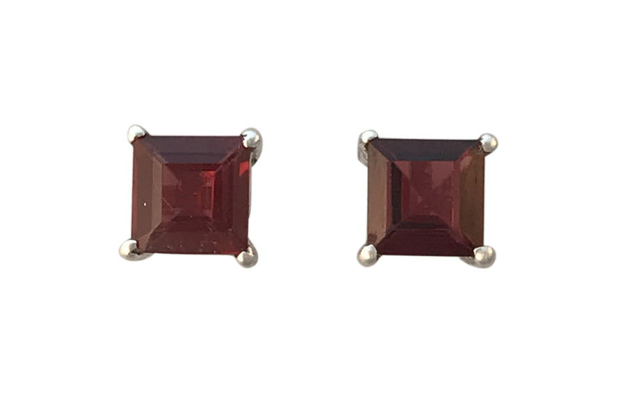 4mm Natural Garnet and Sterling Silver Post Earrings