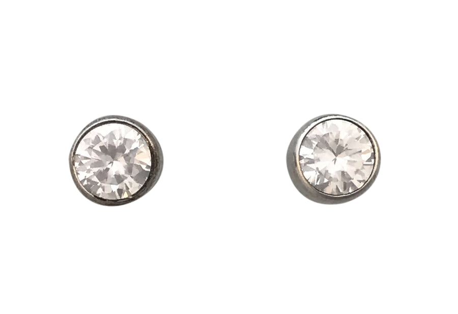 6mm Cubic Zirconia and Sterling Silver Stud Earrings