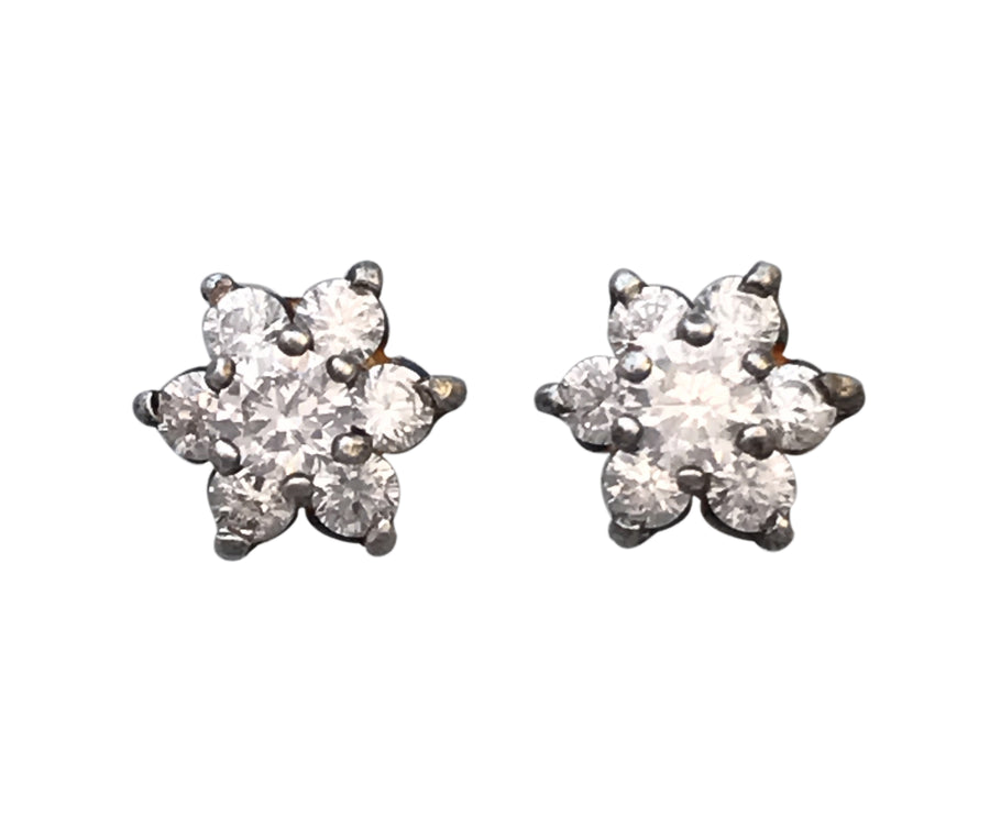 8mm Cubic Zirconia and Sterling Silver Post Flower Earrings