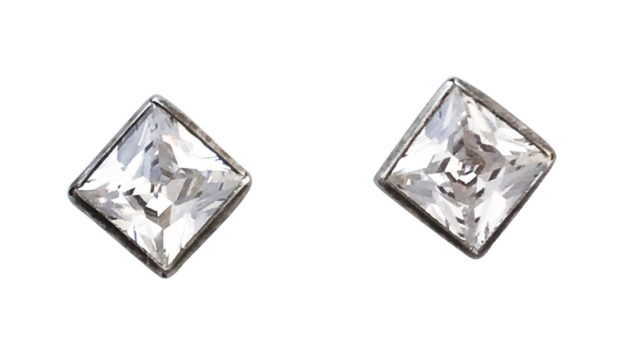 5mm Cubic Zirconia and Sterling Silver Princess Cut Earrings