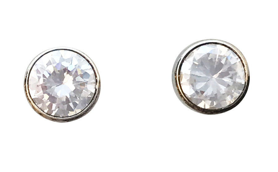 5mm Cubic Zirconia and Sterling Silver Stud Earrings