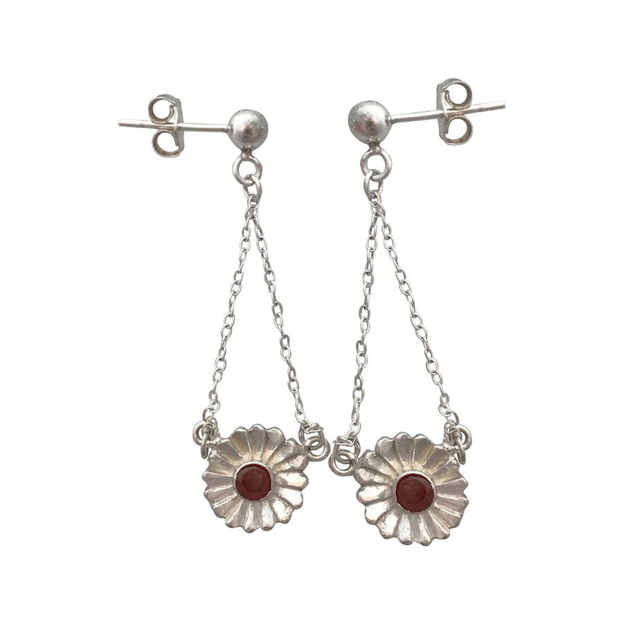 41mm Natural Garnet and Sterling Silver Post Earrings