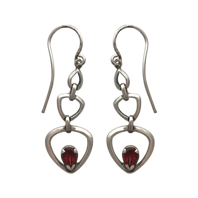 32mm Natural Garnet and Sterling Silver Teardrop Post Earrings