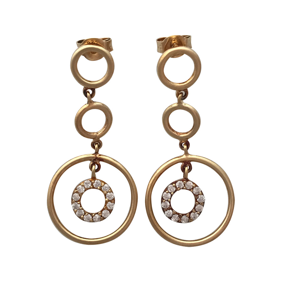 38mm Gold Plated Sterling Silver and Cubic Zirconia Earrings