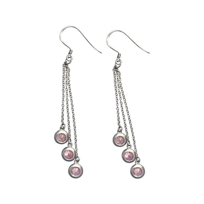 55mm Silver Chandelier Earring With Bezel Set Pink Cubic Zirconia