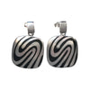 20mm Square Rhodium Plated Sterling Silver Zebra Designed Earrings
