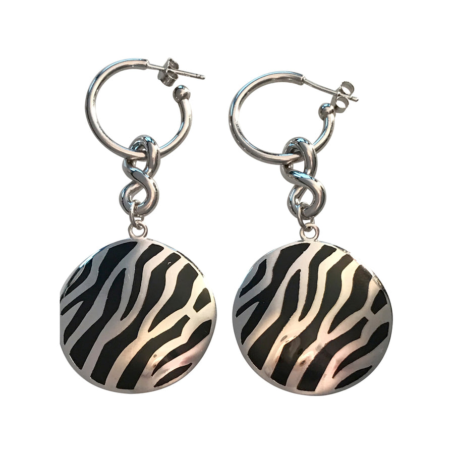 25mm Round Rhodium Plated Sterling Silver Zebra Designed Earrings