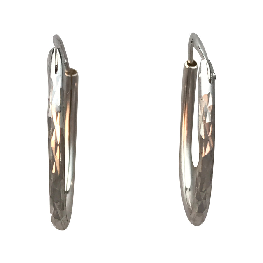 21mm Diamond Cut Sterling Silver Earrings