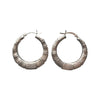 28mm Bamboo Design Sterling Silver Hoop Earrings