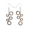 61x11mm 5 Ring Drops Sterling Silver Earrings