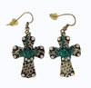 28x22mm Western Cross Shaped Fishhook Earrings