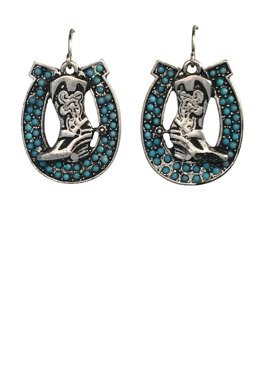 Boot In Horseshoe Imitation Turquoise Earrings