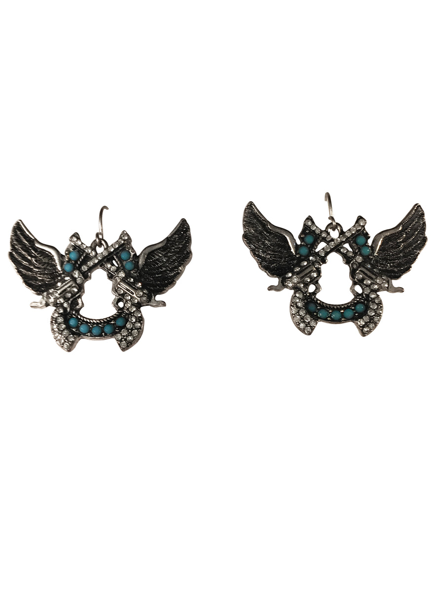 31x38mm Winged Horseshoe and Pistol Earrings With Imitation Turquoise