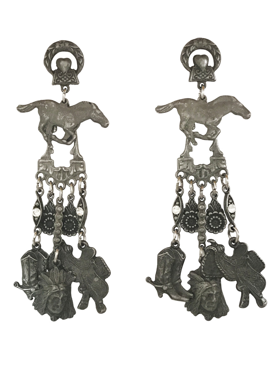 93x20mm Horse and Multiple Charm Earrings, Long Dangle