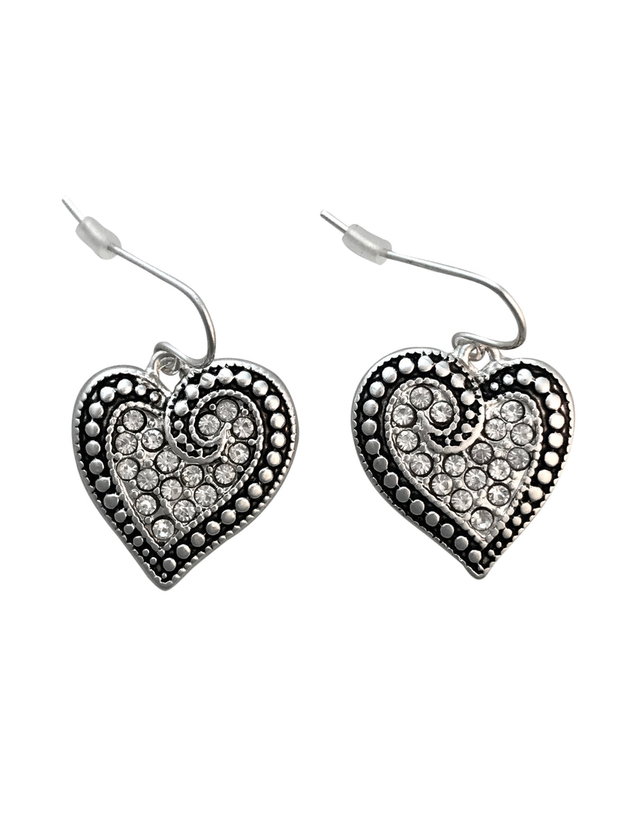 21x19mm Crystal Heart Earrings