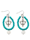 47x28mm Fleur de Lis Beaded Earrings
