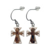 18mm Hair On Hide Crystal Cross Earrings