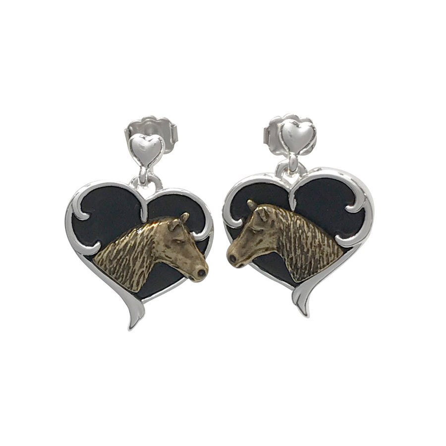 18mm Quarter Horse Head and Heart Post Earrings