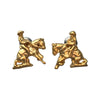 12mm 14kt Gold Plated Reining Horse and Rider Post Earrings