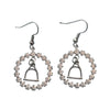 24mm Stirrup and Round Ring Earrings With Swarovski Crystals