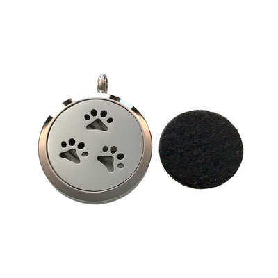 30mm Paw Prints Aromatherapy Diffuser Locket Pendant With Oil Pad