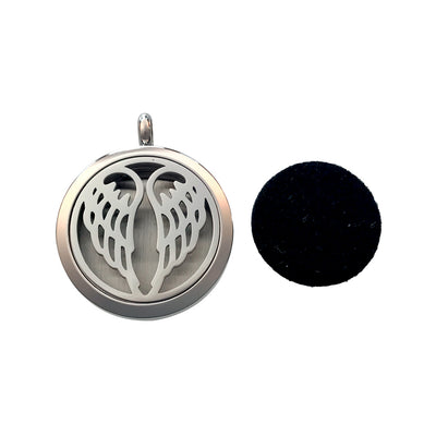 30mm Wings Aromatherapy Diffuser Locket Pendant With Oil Pad