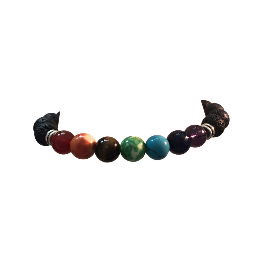 7 Inch Natural Lava Gemstone and Mixed Bead Chakra Stretch Bracelet