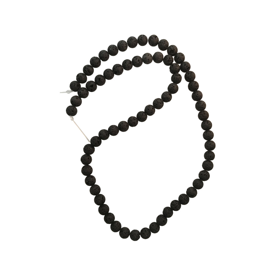 15 Inch 6mm Strand Natural Lava Gemstone Round Aromatherapy Beads