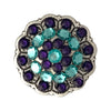1 Inch Swarovski Light Turquoise and Purple Velvet Crystal Concho