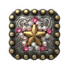 1 Inch Swarovski  AB and Rose Crystal Square Star Concho