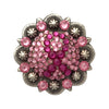 1-1/2 Inch Swarovski Light Rose and Fuchsia Ribbon Concho