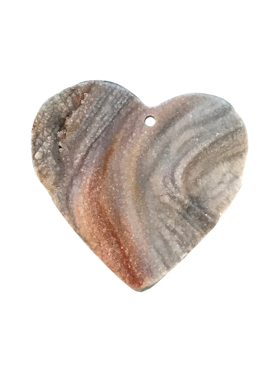 36x38mm Druzy Agate (N) Focal Heart