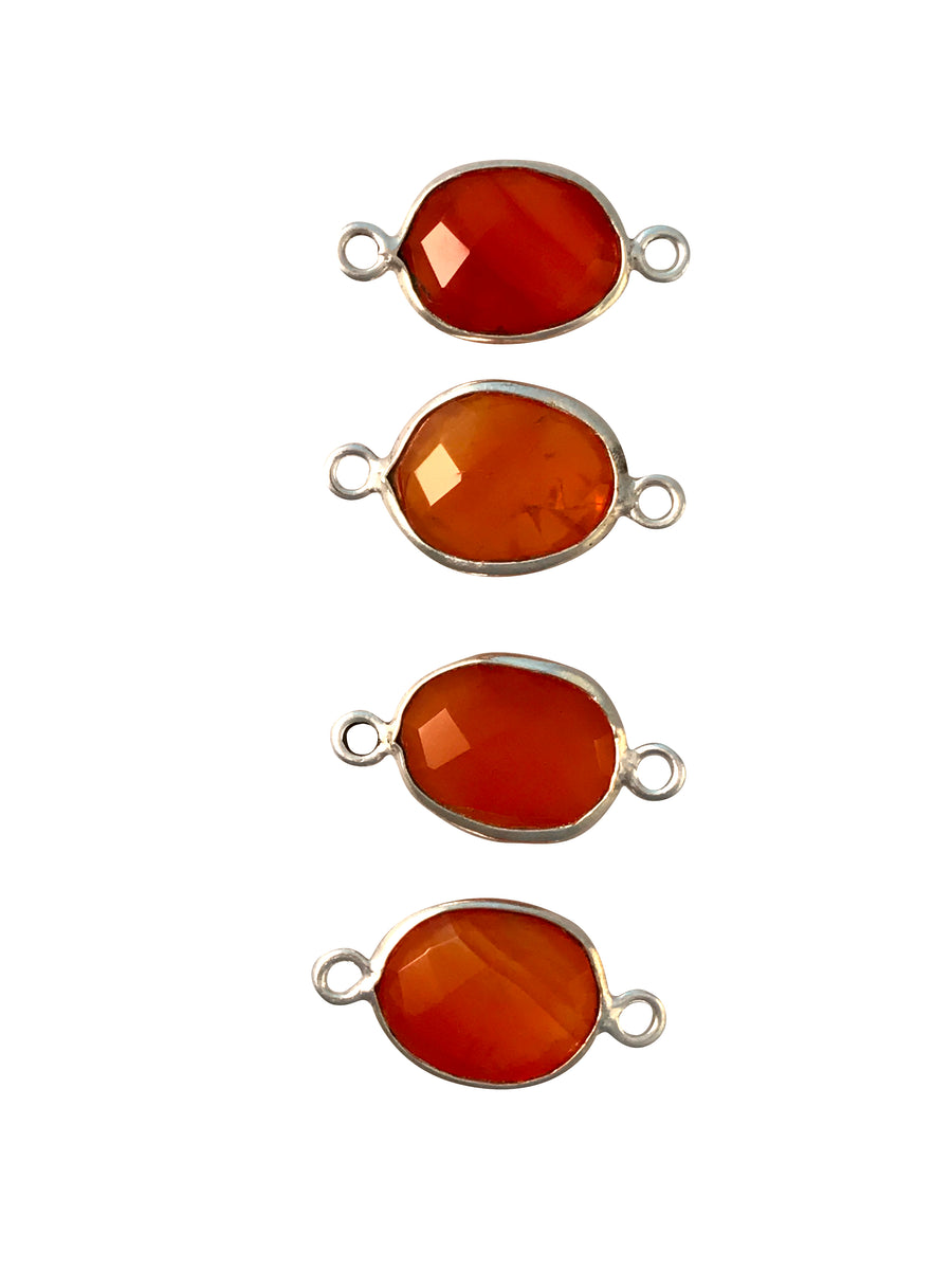 9x7-12x10mm Carnelian (D/H) Double Sided Freeform Oval Link